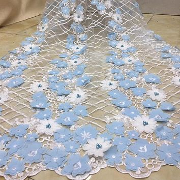 5yards/lot Hot Selling Nigerian 3D Lace Applique Flowers With Beads For Dress Latest African Tulle Lace Fabric