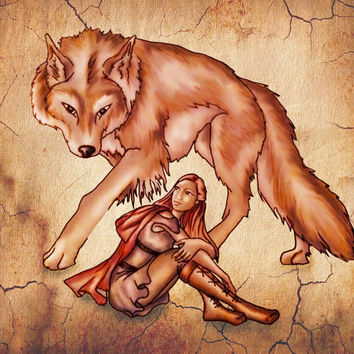 Print, Red Riding Hood with Wolf on Cracked Wall, Nursery Art, Wall Decor, wall art, drawing, fairy tale, fantasy, Wolf art, Gifts for Girls
