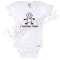 I POOPED TODAY    Gerber® Onesuit® Baby T-SHIRT SHOWER CUTE FUNNY SHIRT BODYSUIT