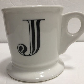 Anthropologie Monogram Ceramic Coffee Cup Mug Personalized Name Letter Initial J