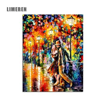DIY Romantic Night Lover Oil Painting By Numbers Acrylics Abstract Unframed Wall Art Digital Hand Paint Pictures For Adults Kids