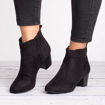 Seattle Faux Suede Boots - Black