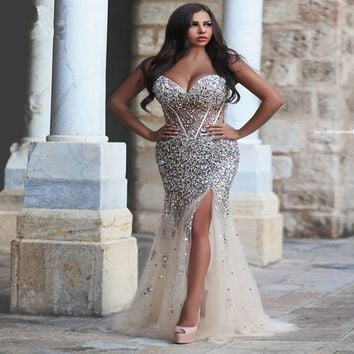 Luxury Crystal Evening Dresses 2017 Split Side Corset Beaded Rhinestone Plus Size Champagne Women Mermaid Party Prom Dress P36