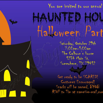 Haunted House Halloween Printable Digital Party Invitation. Haunted House Party Invitation.  Spooky Halloween Party INvitation