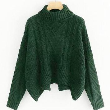 Forest Green Cable Knitted Sweater