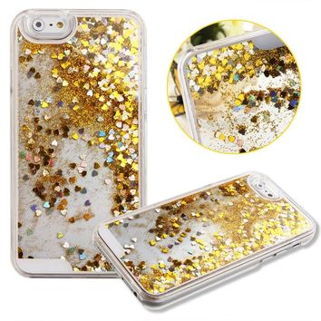 Case for iPhone 6S Plus,Cover for iPhone 6S Plus,iPhone 6S Plus CaseHard Case for iPhone 6S Plus,NSSTAR Creative Design Flowing Liquid Floating Luxury Bling Glitter Sparkle Hearts Hard Case for Apple iPhone 6S Plus (2015)/ iPhone 6 Plus (2014) (Hearts:Yell