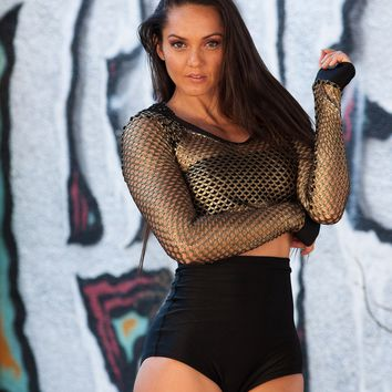 Gold/Black Hooded Net Top Rave Wear