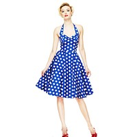Hell Bunny 60's Blue and White Polka Dot Halter Flare Party Dress