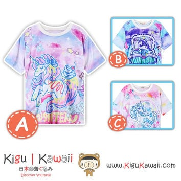 New Unicorn Design Pink Tshirt Harajuku Tops 3 Designs KK821