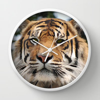 Art Painting of a Tiger Wall Clock by Karl Wilson Photography