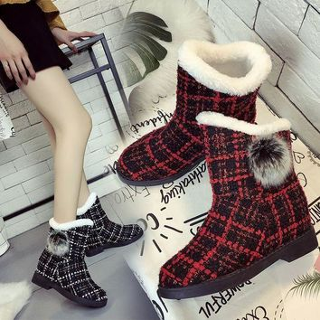ca DCCKTM4 Hot Deal On Sale Height Increase Winter Stylish Plaid Boots [47583592455]