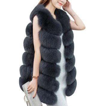 Plus Size 3XL Winter Warm Thick Women Faux Fox Fur Coat Vest Fashion Long Fur Vests Coats England Style Ladies Jacket Outwear