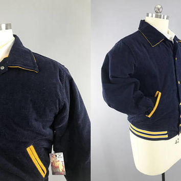 1950s Vintage Varsity Jacket / West Wind Coat / Buccaneer Mfg / Blue Corduroy Coat / Letterman Jacket / Size XL 46 / Yellow Quilted Liner