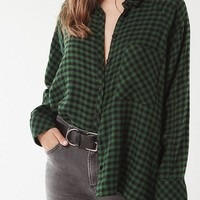 UO Brendan Drapey Flannel Button-Down Shirt | Urban Outfitters