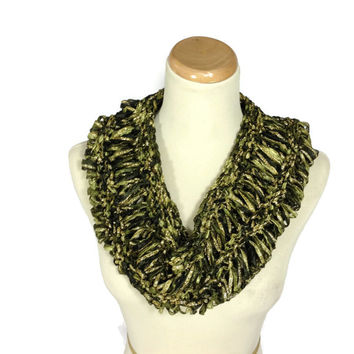 Spring Scarf, Knit Cowl, Circle Scarf, Hand Knit Scarf, Olive Green Cowl,   Infinity Scarf, Fiber Art, Fashion Scarf, Mothers Day,