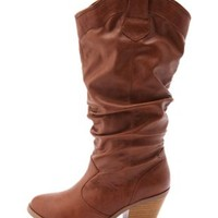 Chunky Heel Slouchy Cowboy Boots by Charlotte Russe - Cognac