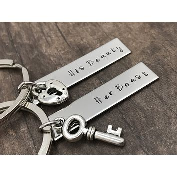 His Beauty Her Beast Melody Font Lock and Key Charms