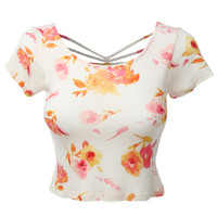 LE3NO Womens Fitted Floral Crop Top with Cross Strap Back (CLEARANCE)