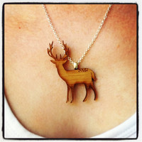 Necklace in eco friendly wood - stag deer animal.  Unique eco jewellery by onehappyleaf on Etsy.