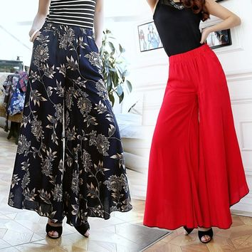 New Summer thin slim fluid wide leg pants female trousers fancy plus size wide-leg pan