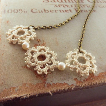 Lace necklace pendant - handmade wedding jewelry bride bridesmaid gift boho rustic victorian vintage inspired fashion - beige cream ivory