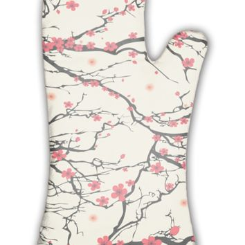 Oven Mitt, Flower Pattern Tree Japanese Cherry Blossom Realistic Sakura Nature