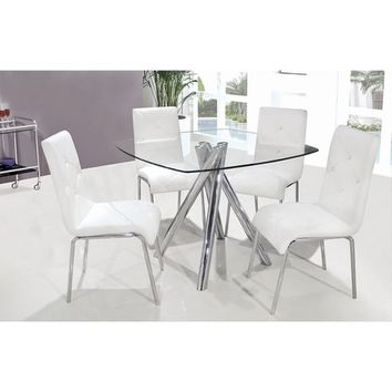 Best Master Furniture Chrome 5-piece Dinette Set with Clear Glass Square Tabletop and 4 Faux-leather Chairs | Overstock.com Shopping - The Best Deals on Dining Sets