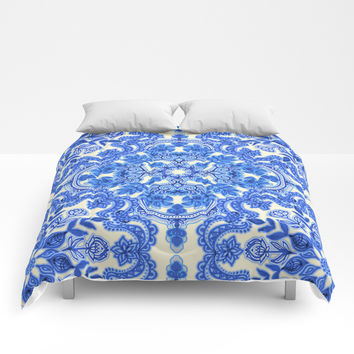 Cobalt Blue & China White Folk Art Pattern Comforters by micklyn