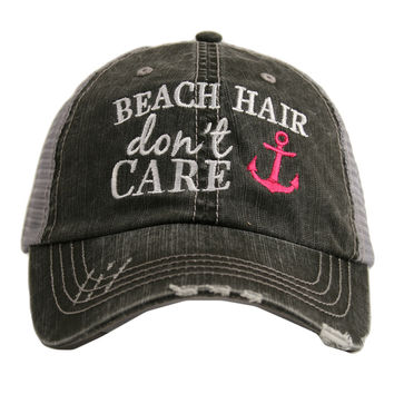 Beach Hair Don't Care Trucker Hat with Anchor
