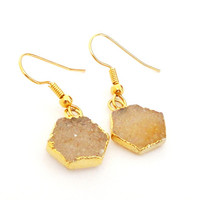Druzy Gold  Earrings, Brown Gray Hexagon Drusy Druzzy Agate Dipped in Gold Dangle