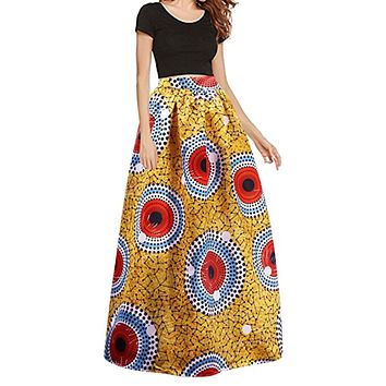 Women's African Print Stretch Elastic High Waist Skirt - Yellow Print with Red Circles, Sizes Small - 2XLarge