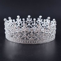 Snuoy Full Pageant Crowns Rhinestone Tiara Queen Crown Birthday Pageant Wedding Prom Halo Tiaras and Crowns