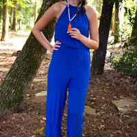 No Room For The Blues Jumpsuit - Final Sale