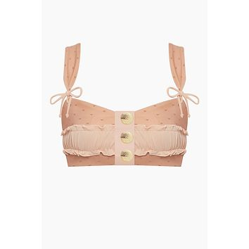 Rae Button Up Bikini Top - Salmon Mesh
