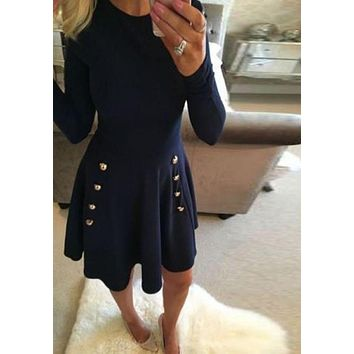 Navy Blue Plain Draped A-line Buttons Double Breasted Elegant Cute Mini Dress F