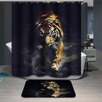 DCCKL72 Elephant Tiger Shower Curtain Waterproof Lion Bathroom Curtain Polyester 3d cortina ducha with Hooks curtains for bath room