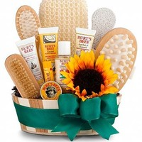 Bath & Body Invigoration: Spa Gift Baskets - A sauna bucket filled with premium Burt's Bees products and spa essentials.