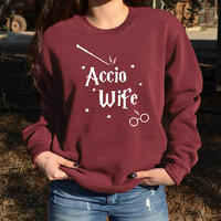Accio Wife Harry potter sweatshirt Spells Harry potter lover gift for wife. Harry Potter Fiancée gift.