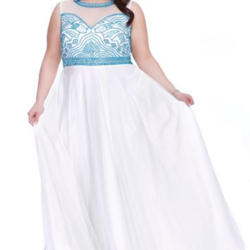 Shail K Long Formal Prom Dress Plus Size Evening Gown