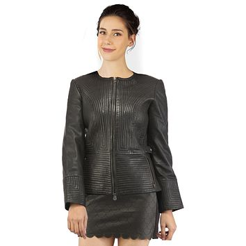Velvet Women Multi Quilted Leather Jacket with Designer classic style