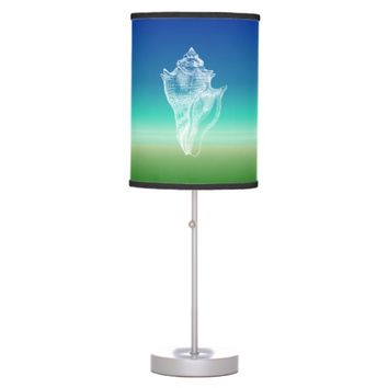 Conch Shell Blue Green Seascape Table Lamp
