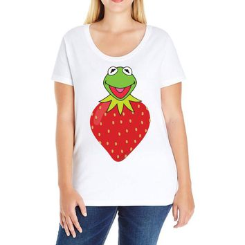 Kermit Strawberry Ladies Curvy T-Shirt