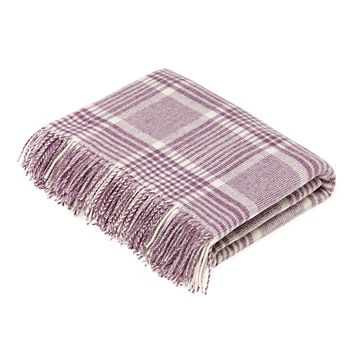 Merino Lambswool Prince of Wales Check Lilac Throw Blanket