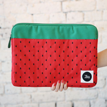"Canvas Laptop Case 13"" Strawberry Embroidery"