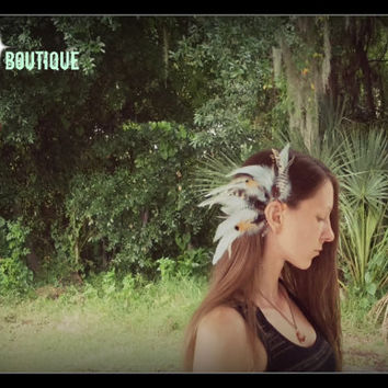 Blue Eagle , Feather Earcuff, gypsy, boho, bohemian, feather, earring, free people, Native american style, Indian feather, jewelry