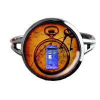 Dr Who Inspired Tardis Ring - Keys To The Tardis - Public Police Box Jewelry - Geeky Whovian