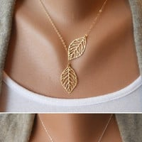 Simple New Fashion Vintage Hollow Two Leaf Leaves Pendant Necklace = 1838936708