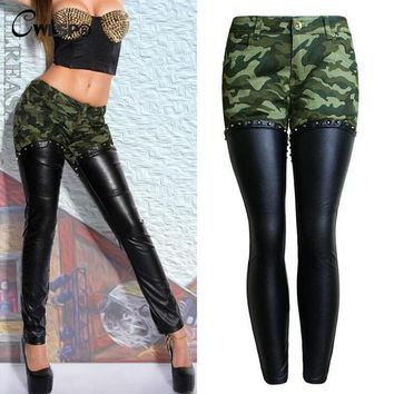 CWLSP 2017 Autumn Camouflage PU leather Patchwork Pencil Pants Women Back Zipper Boyfriend Style Jeans Female Trousers Bottom