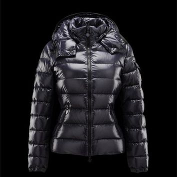 Moncler Bady Detachable Hood Blue Jackets Lacquered Nylon Womens 41224540XX