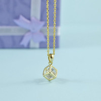 Cube Cubic Zirconia Charm Necklace, Gold Plated Brass Pendant, Delicate Chain, Everyday Wear, Perfect Gift